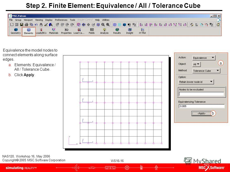 WS16-16 NAS120, Workshop 16, May 2006 Copyright 2005 MSC.Software Corporation Step 2. Finite Element: Equivalence / All / Tolerance Cube Equivalence the model nodes to connect elements along surface edges. a.Elements: Equivalence / All / Tolerance Cu