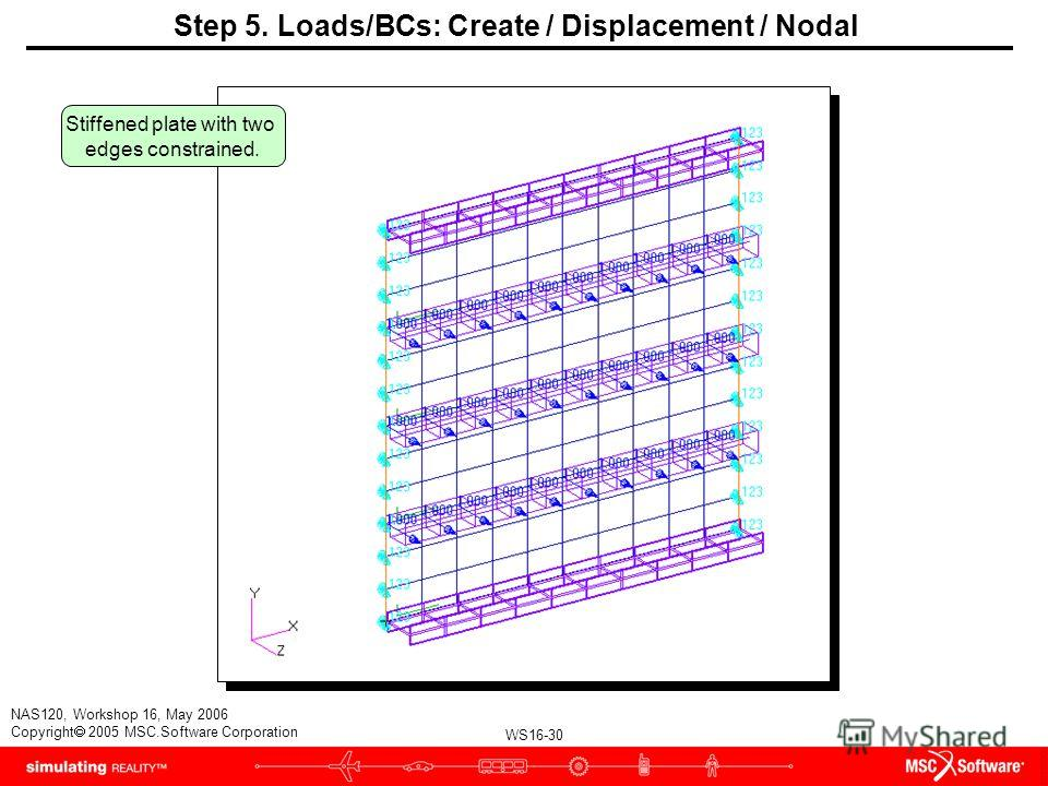 WS16-30 NAS120, Workshop 16, May 2006 Copyright 2005 MSC.Software Corporation Step 5. Loads/BCs: Create / Displacement / Nodal Stiffened plate with two edges constrained.