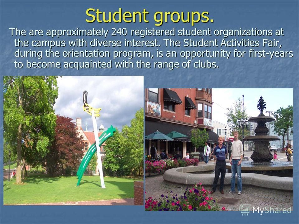 Student groups. The are approximately 240 registered student organizations at the campus with diverse interest. The Student Activities Fair, during the orientation program, is an opportunity for first-years to become acquainted with the range of club