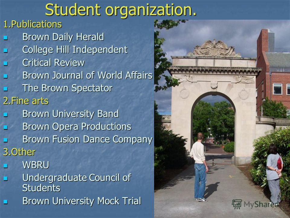 Student organization. 1. Publications Brown Daily Herald Brown Daily Herald College Hill Independent College Hill Independent Critical Review Critical Review Brown Journal of World Affairs Brown Journal of World Affairs The Brown Spectator The Brown