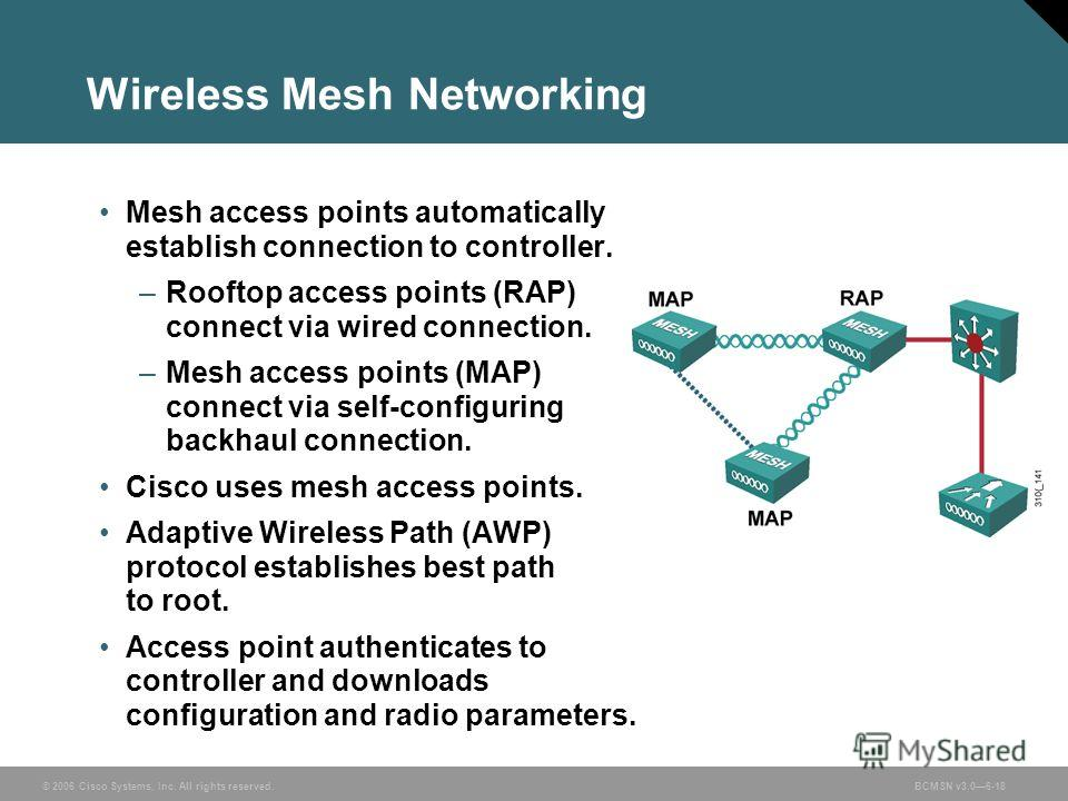 © 2006 Cisco Systems, Inc. All rights reserved.BCMSN v3.06-18 Wireless Mesh Networking Mesh access points automatically establish connection to controller. –Rooftop access points (RAP) connect via wired connection. –Mesh access points (MAP) connect v