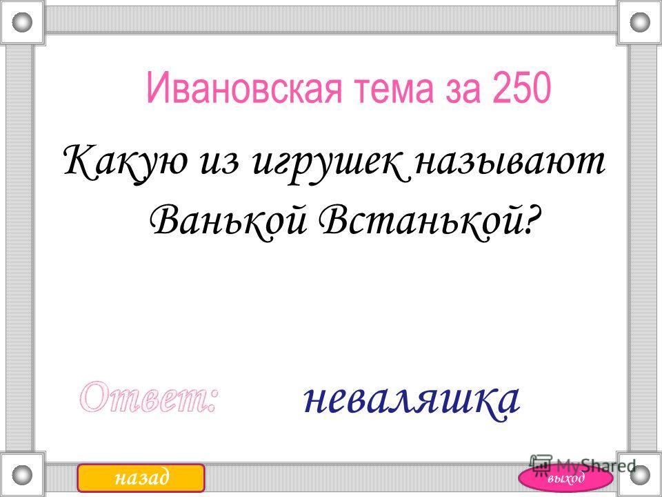 Ивановская тема за 250 Какую из игрушек называют Ванькой Встанькой? назад неваляшка выход