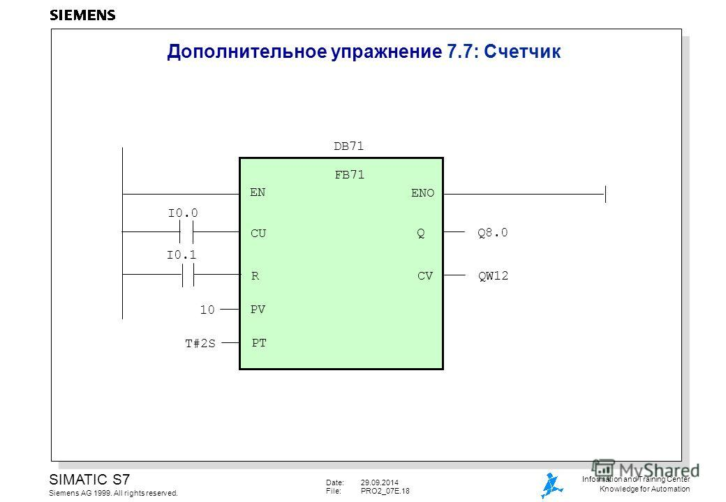 Date:29.09.2014 File:PRO2_07E.18 SIMATIC S7 Siemens AG 1999. All rights reserved. Information and Training Center Knowledge for Automation Дополнительное упражнение 7.7: Cчетчик FB71 DB71 EN ENO CU R I0.0 I0.1 PV QQ8.0 CVQW12 10 PT T#2S