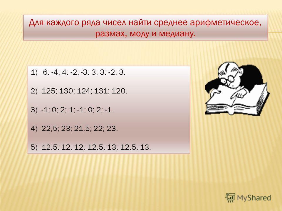 Для каждого ряда чисел найти среднее арифметическое, размах, моду и медиану. 1)6; -4; 4; -2; -3; 3; 3; -2; 3. 2) 125; 130; 124; 131; 120. 3) -1; 0; 2; 1; -1; 0; 2; -1. 4) 22,5; 23; 21,5; 22; 23. 5) 12,5; 12; 12; 12,5; 13; 12,5; 13.