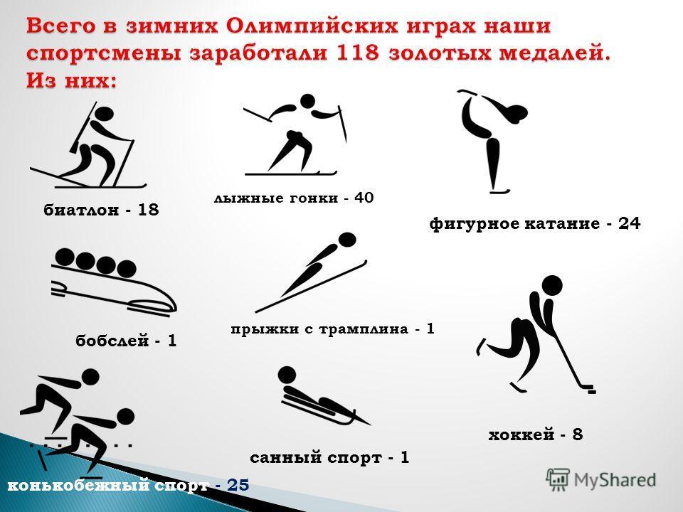 биатлон - 18 бобслей - 1 конькобежный спорт - 25 лыжные гонки - 40 прыжки с трамплина - 1 санный спорт - 1 фигурное катание - 24 хоккей - 8