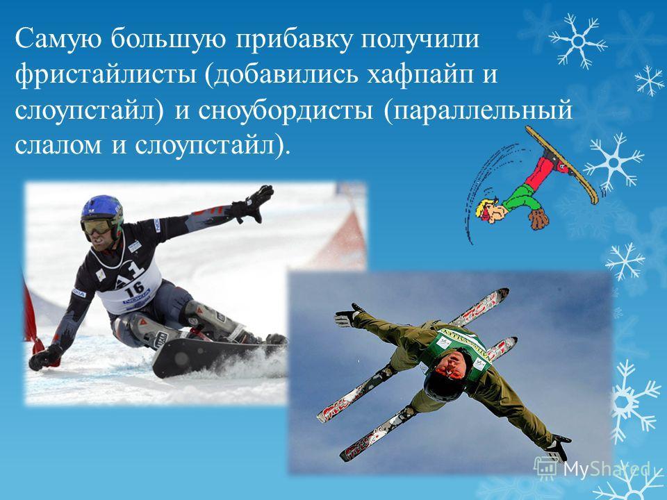 Самую большую прибавку получили фристайлисты (добавились хафпайп и слоупстайл) и сноубордисты (параллельный слалом и слоупстайл).