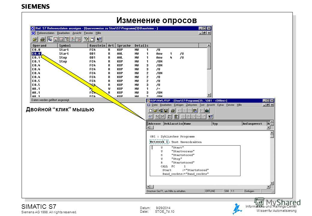 Datum: 9/29/2014 Datei:STOE_7d.10 SIMATIC S7 Siemens AG 1998. All rights reserved. Informations- und Trainings-Center Wissen for Automatisierung Изменение опросов Двойной клик мышью