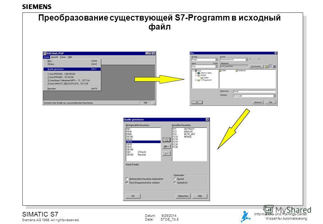 Datum: 9/29/2014 Datei:STOE_7d.5 SIMATIC S7 Siemens AG 1998. All rights reserved. Informations- und Trainings-Center Wissen for Automatisierung Преобразование существующей S7-Programm в исходный файл