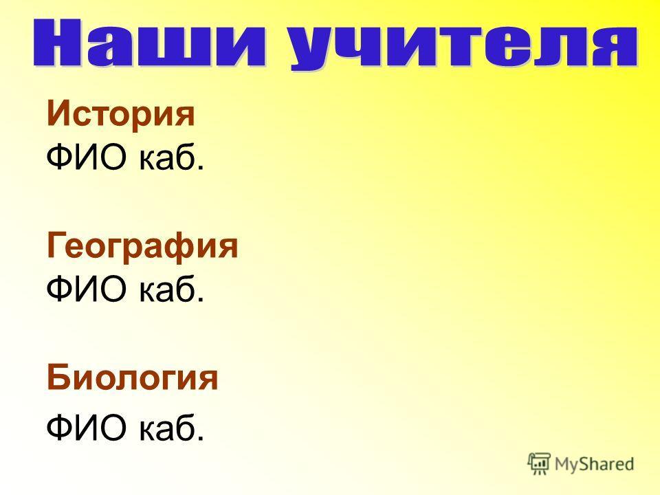 История ФИО каб. География ФИО каб. Биология ФИО каб.