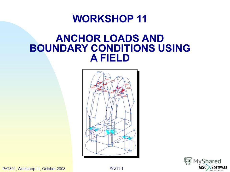 WS11-1 WORKSHOP 11 ANCHOR LOADS AND BOUNDARY CONDITIONS USING A FIELD PAT301, Workshop 11, October 2003
