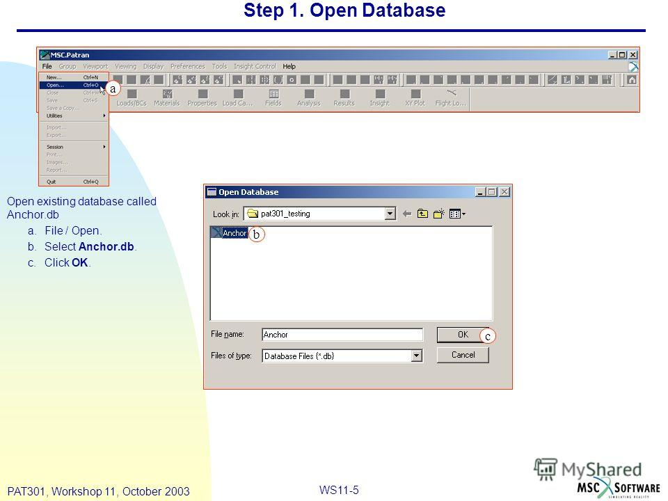 WS11-5 PAT301, Workshop 11, October 2003 Step 1. Open Database Open existing database called Anchor.db a.File / Open. b.Select Anchor.db. c.Click OK. a b c