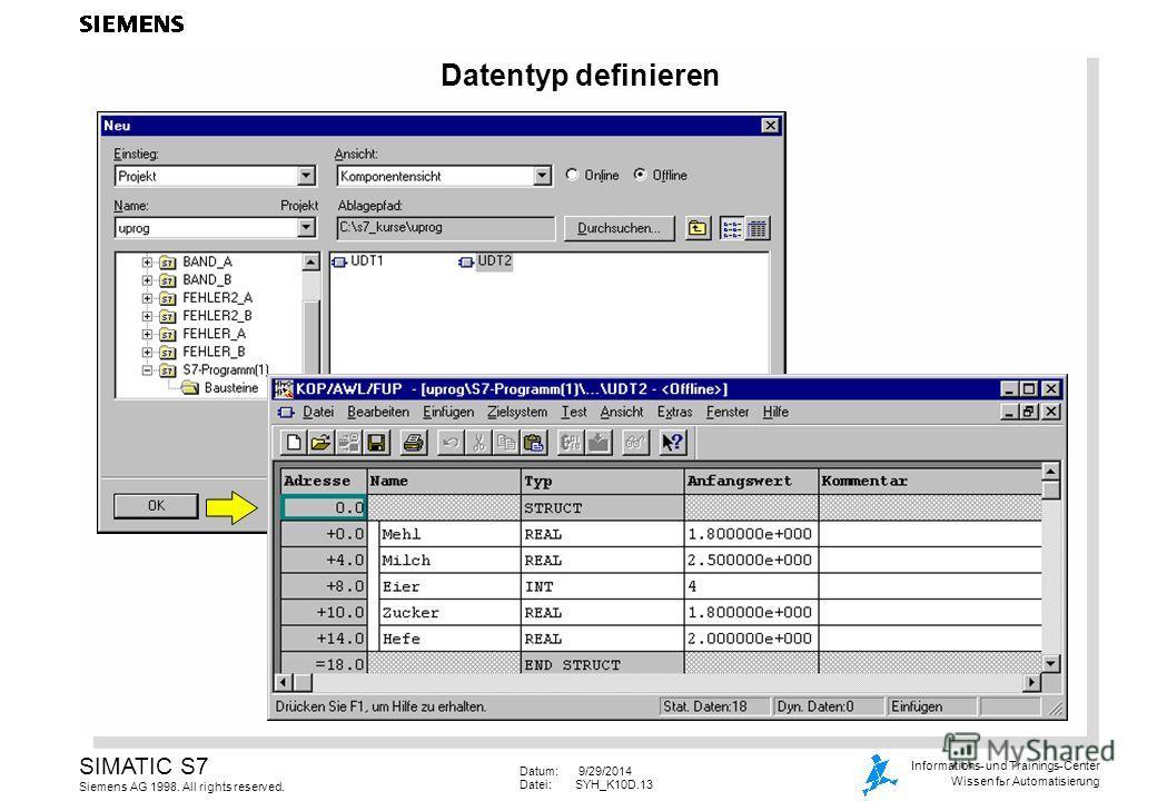 Datum: 9/29/2014 Datei:SYH_K10D.13 SIMATIC S7 Siemens AG 1998. All rights reserved. Informations- und Trainings-Center Wissen for Automatisierung Datentyp definieren