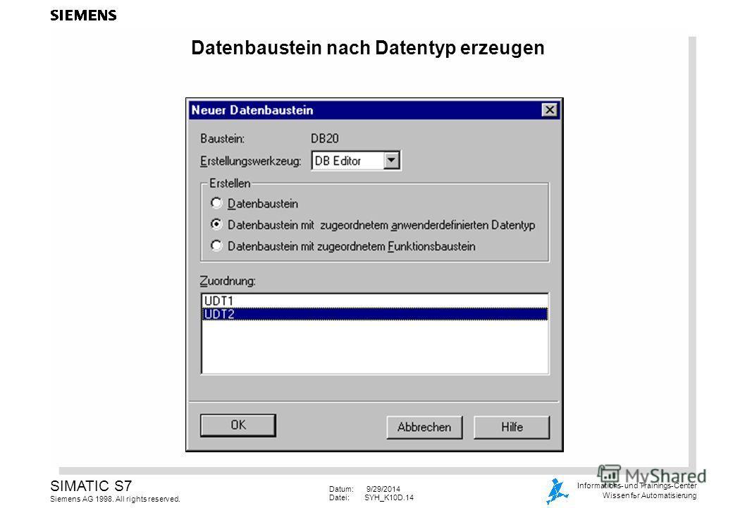Datum: 9/29/2014 Datei:SYH_K10D.14 SIMATIC S7 Siemens AG 1998. All rights reserved. Informations- und Trainings-Center Wissen for Automatisierung Datenbaustein nach Datentyp erzeugen