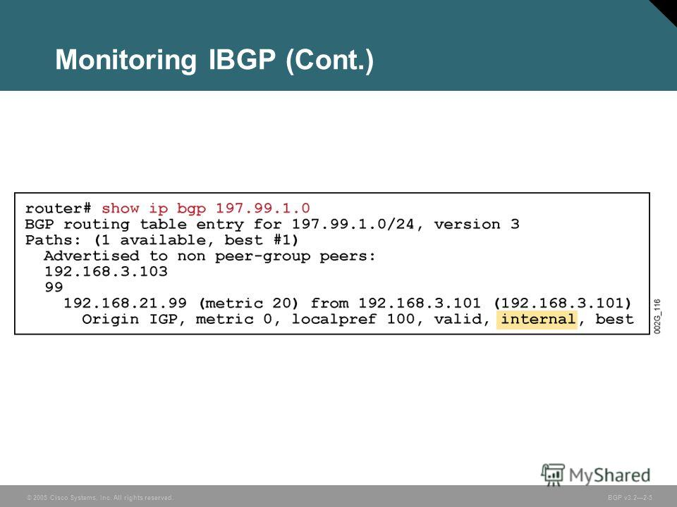 © 2005 Cisco Systems, Inc. All rights reserved. BGP v3.22-5 Monitoring IBGP (Cont.)