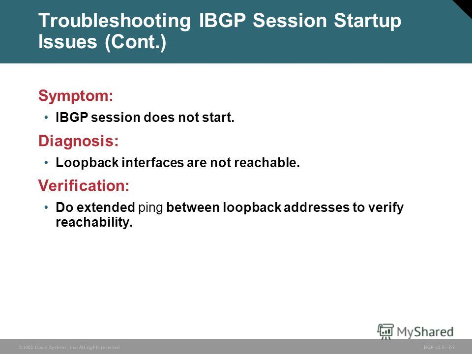 © 2005 Cisco Systems, Inc. All rights reserved. BGP v3.22-8 Troubleshooting IBGP Session Startup Issues (Cont.) Symptom: IBGP session does not start. Diagnosis: Loopback interfaces are not reachable. Verification: Do extended ping between loopback ad