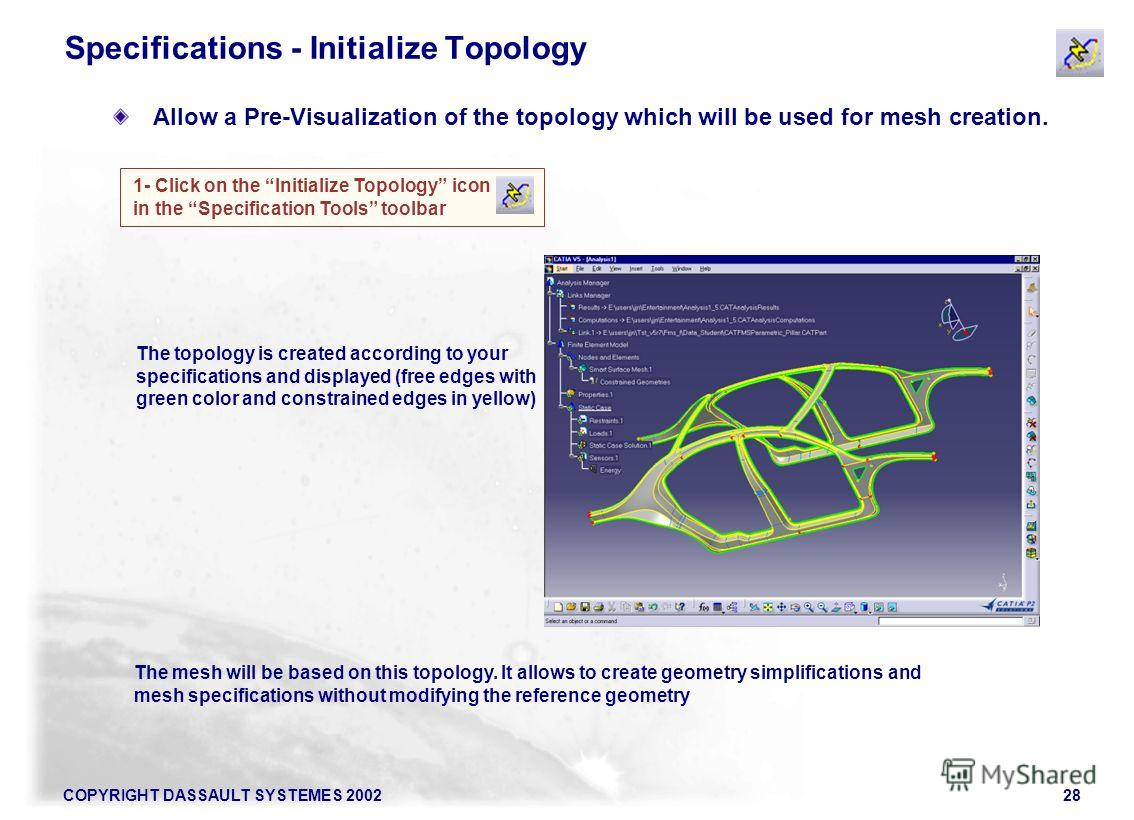 COPYRIGHT DASSAULT SYSTEMES 200228 Specifications - Initialize Topology Allow a Pre-Visualization of the topology which will be used for mesh creation. 1- Click on the Initialize Topology icon in the Specification Tools toolbar The topology is create