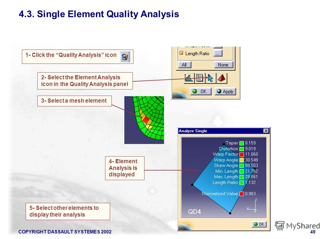 COPYRIGHT DASSAULT SYSTEMES 200249 4.3. Single Element Quality Analysis 1- Click the Quality Analysis icon 5- Select other elements to display their analysis 2- Select the Element Analysis icon in the Quality Analysis panel 3- Select a mesh element 4
