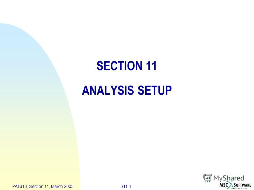 S11-1 PAT318, Section 11, March 2005 SECTION 11 ANALYSIS SETUP