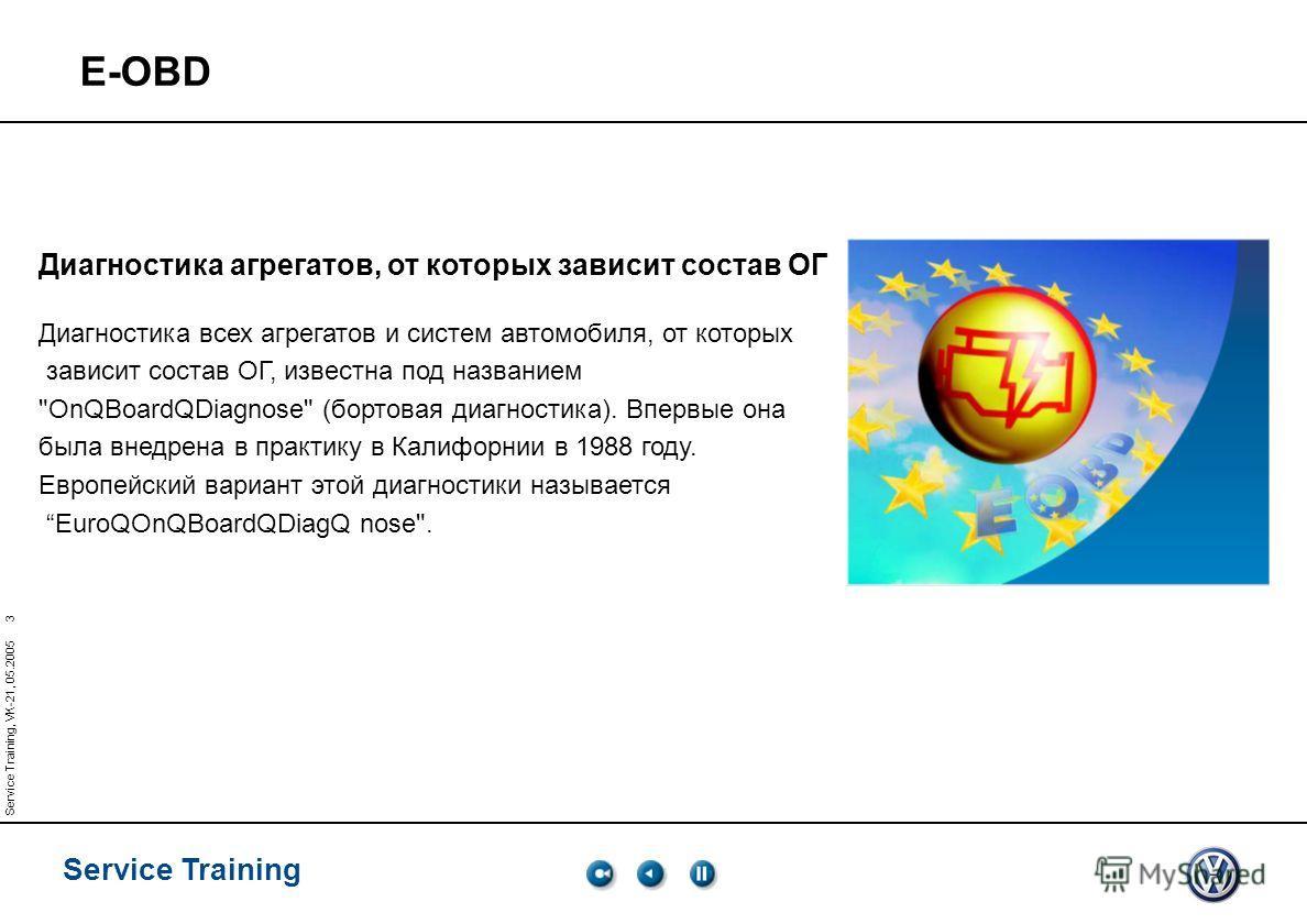 Service Training Service Training, VK-21, 05.2005 3 E-OBD Диагностика агрегатов, от которых зависит состав ОГ Диагностика всех агрегатов и систем автомобиля, от которых зависит состав ОГ, известна под названием