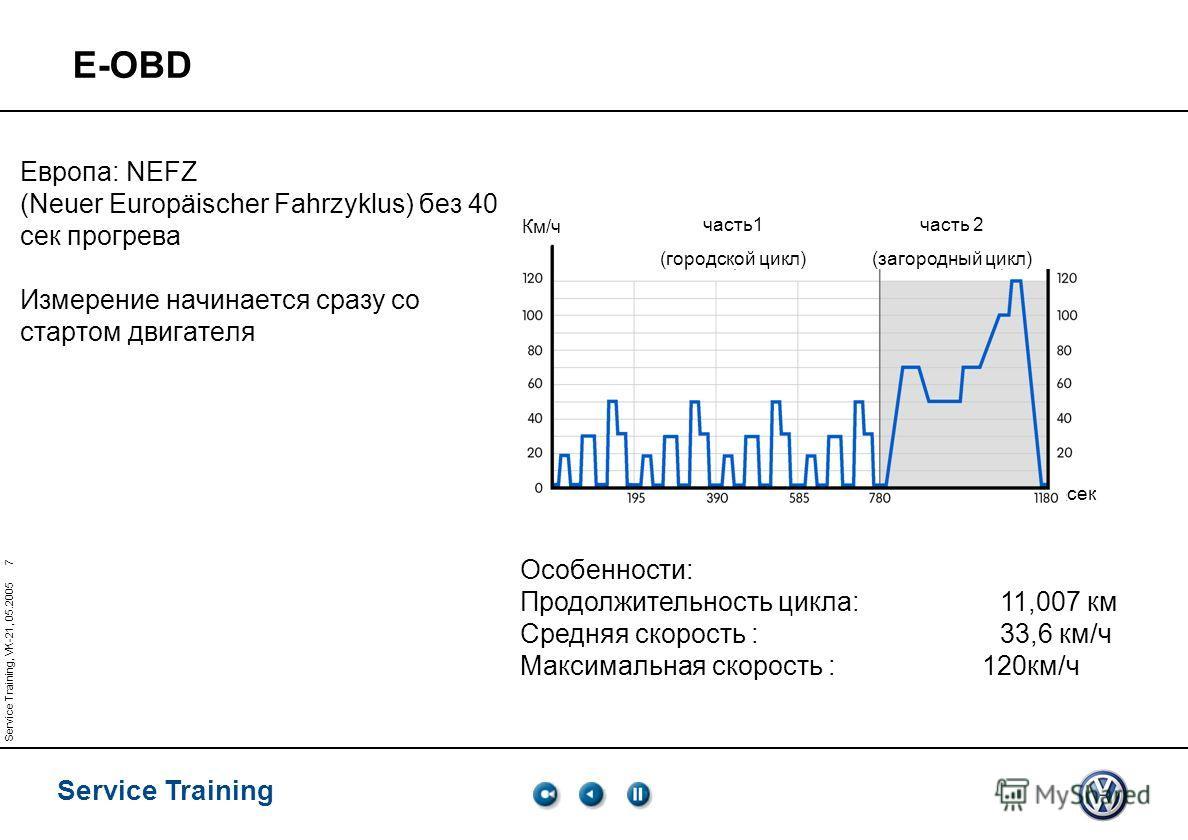 Service Training Service Training, VK-21, 05.2005 7 Европа: NEFZ (Neuer Europäischer Fahrzyklus) без 40 сек прогрева Измерение начинается сразу со стартом двигателя Особенности: Продолжительность цикла:11,007 км Средняя скорость : 33,6 км/ч Максималь