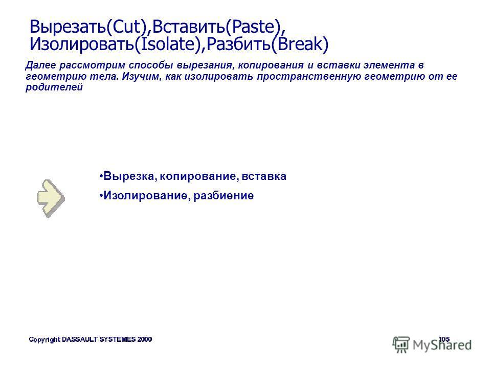 Вырезать(Cut),Вставить(Paste), Изолировать(Isolate),Разбить(Break) Далее рассмотрим способы вырезания, копирования и вставки элемента в геометрию тела. Изучим, как изолировать пространственную геометрию от ее родителей Вырезка, копирование, вставка И