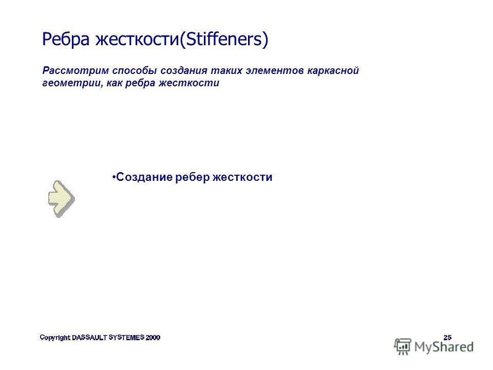 Ребра жесткости(Stiffeners) Рассмотрим способы создания таких элементов каркасной геометрии, как ребра жесткости Создание ребер жесткости