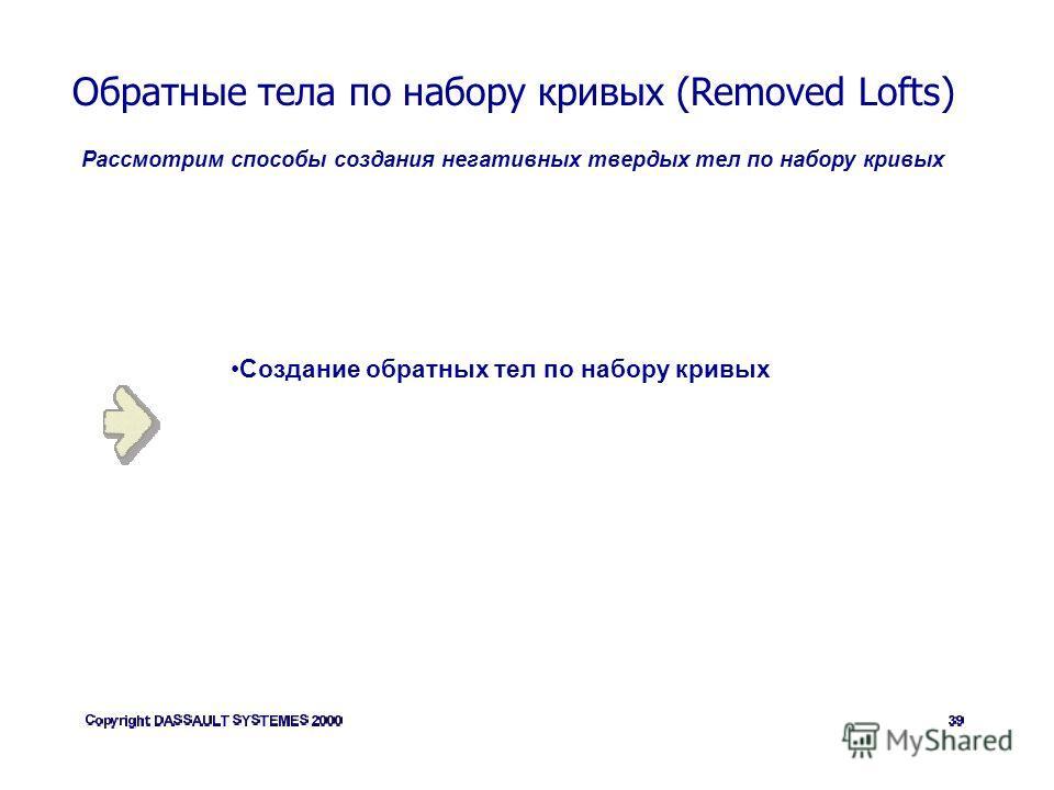 Обратные тела по набору кривых (Removed Lofts) Рассмотрим способы создания негативных твердых тел по набору кривых Создание обратных тел по набору кривых