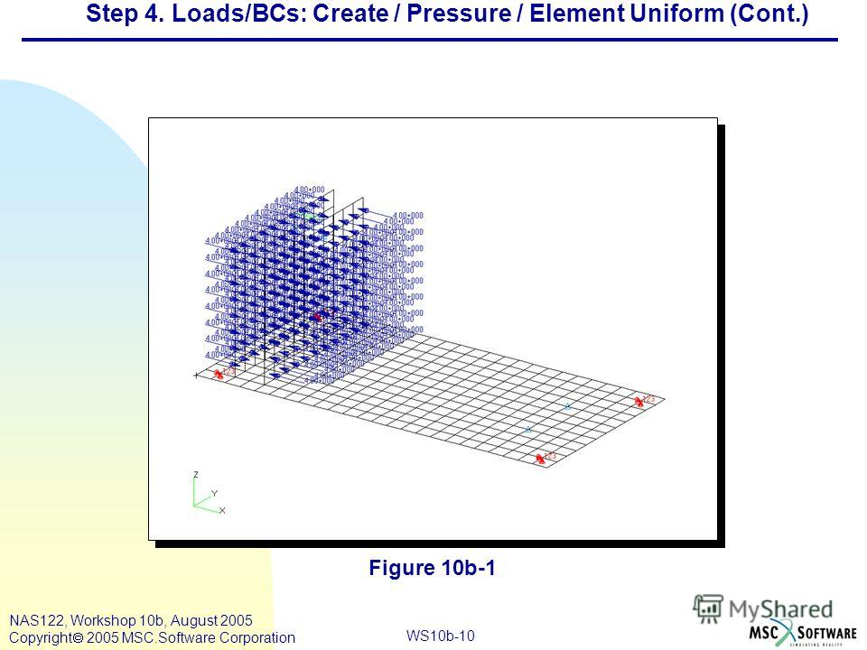 WS10b-10 NAS122, Workshop 10b, August 2005 Copyright 2005 MSC.Software Corporation Step 4. Loads/BCs: Create / Pressure / Element Uniform (Cont.) Figure 10b-1