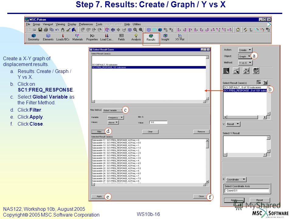 WS10b-16 NAS122, Workshop 10b, August 2005 Copyright 2005 MSC.Software Corporation Step 7. Results: Create / Graph / Y vs X Create a X-Y graph of displacement results. a.Results: Create / Graph / Y vs X. b.Click on SC1:FREQ_RESPONSE. c.Select Global