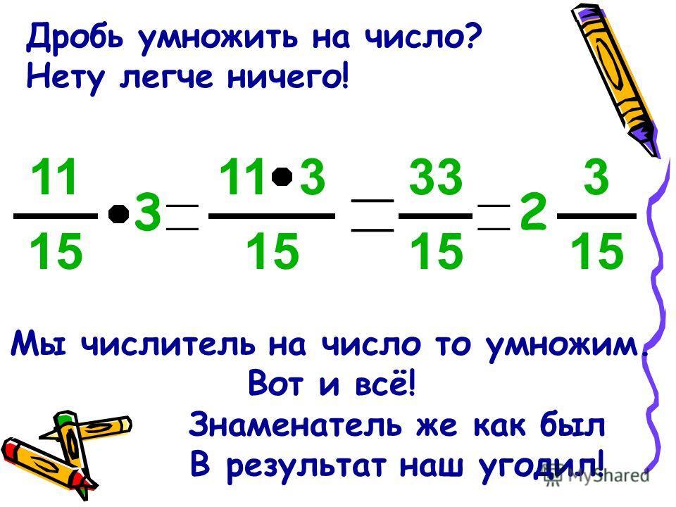 Дробь умножить на число? Нету легче ничего! Мы числитель на число то умножим. Вот и всё! Знаменатель же как был В результат наш угодил! 15 11 3 15 11 3 15 33 15 3 2