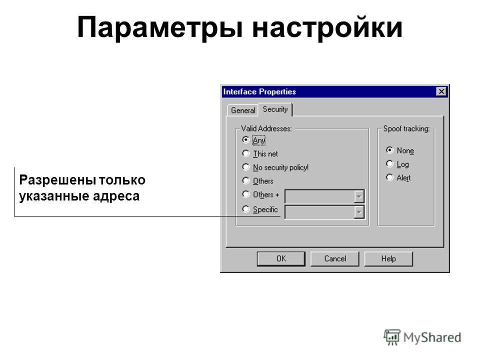 Параметры настройки Разрешены только указанные адреса