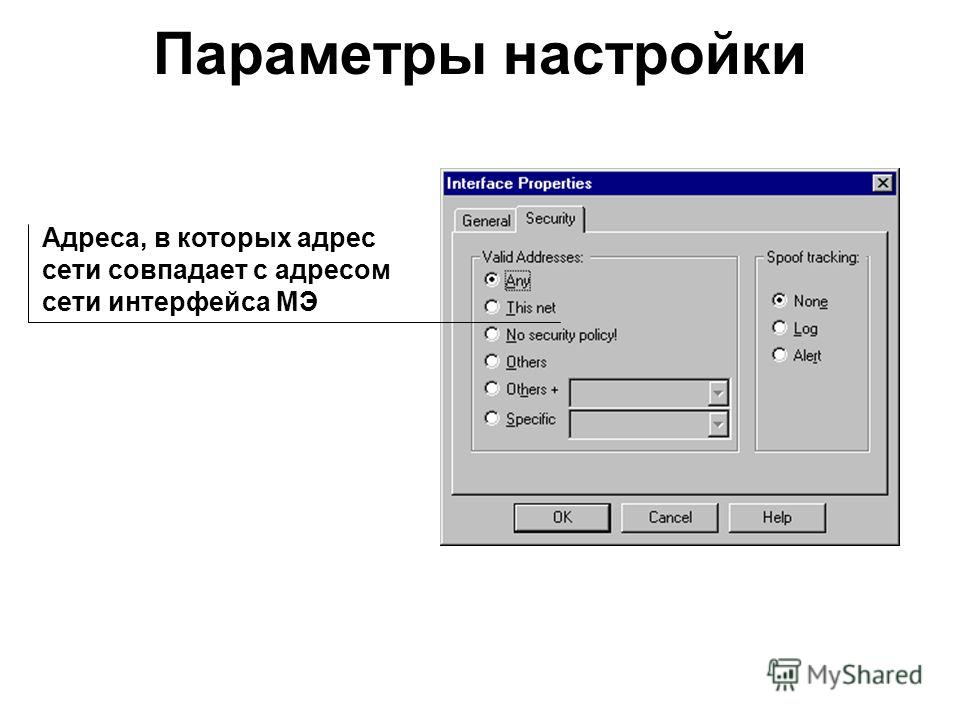 Параметры настройки Адреса, в которых адрес сети совпадает с адресом сети интерфейса МЭ