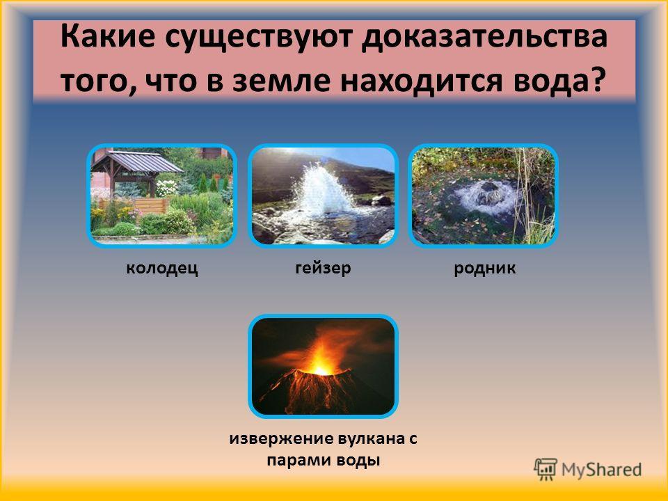 Какие существуют доказательства того, что в земле находится вода? колодецгейзерродник извержение вулкана с парами воды