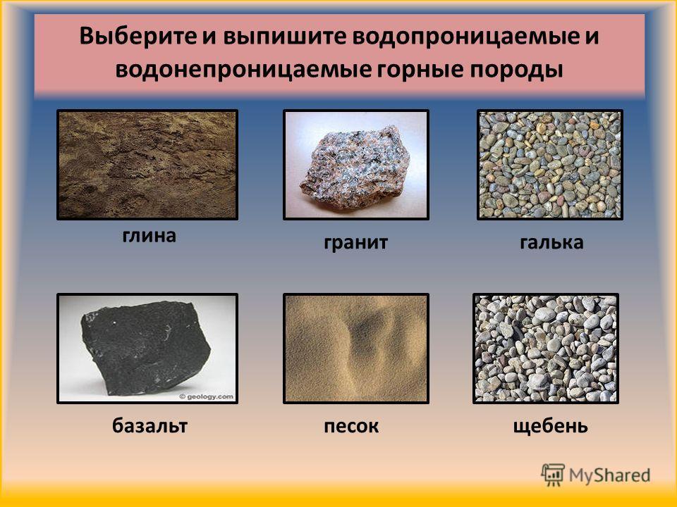 глина базальт гранит Выберите и выпишите водопроницаемые и водонепроницаемые горные породы щебень песок галька