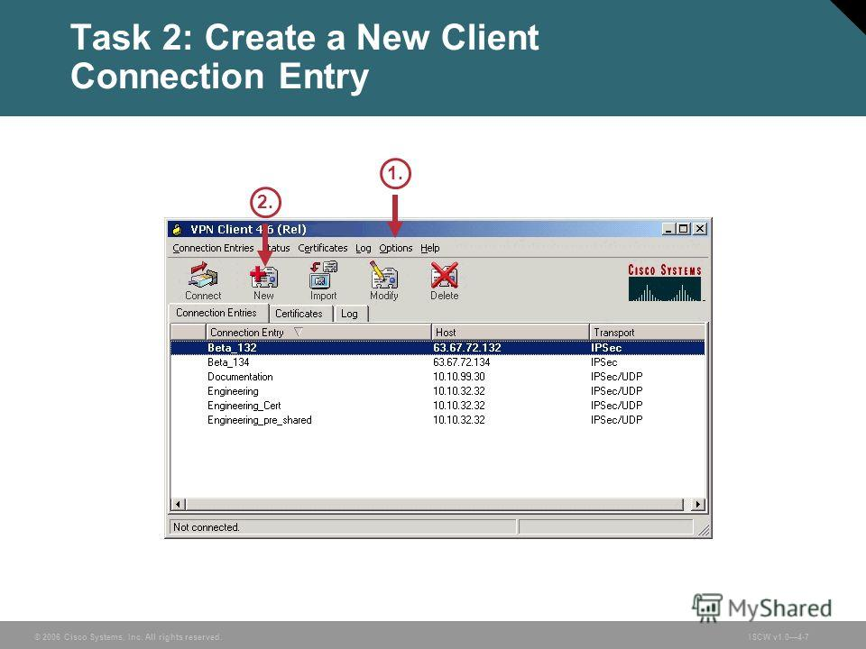 © 2006 Cisco Systems, Inc. All rights reserved.ISCW v1.04-7 Task 2: Create a New Client Connection Entry 2.2. 1.1.