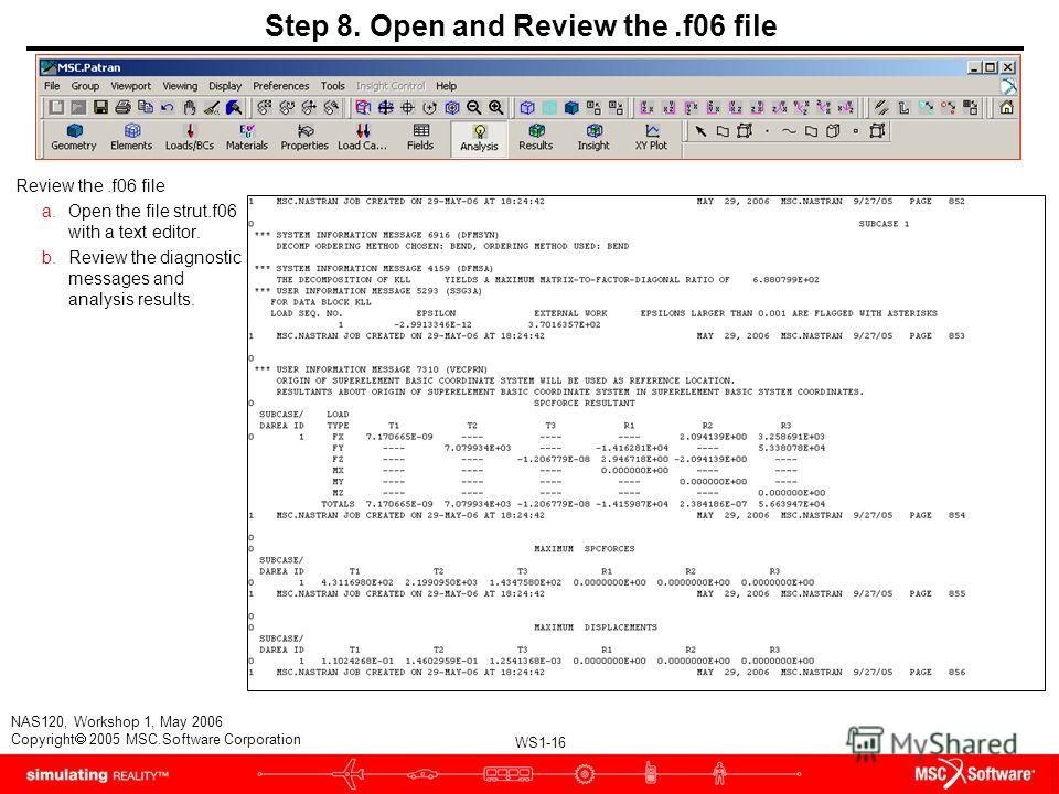WS1-16 NAS120, Workshop 1, May 2006 Copyright 2005 MSC.Software Corporation Step 8. Open and Review the.f06 file Review the.f06 file a.Open the file strut.f06 with a text editor. b.Review the diagnostic messages and analysis results.