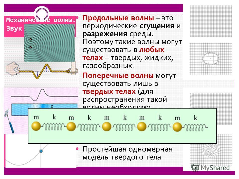 Механические волны. Звук Продольные волны – это периодические сгущения и разрежения среды. Поэтому такие волны могут существовать в любых телах – твердых, жидких, газообразных. Поперечные волны могут существовать лишь в твердых телах (для распростран
