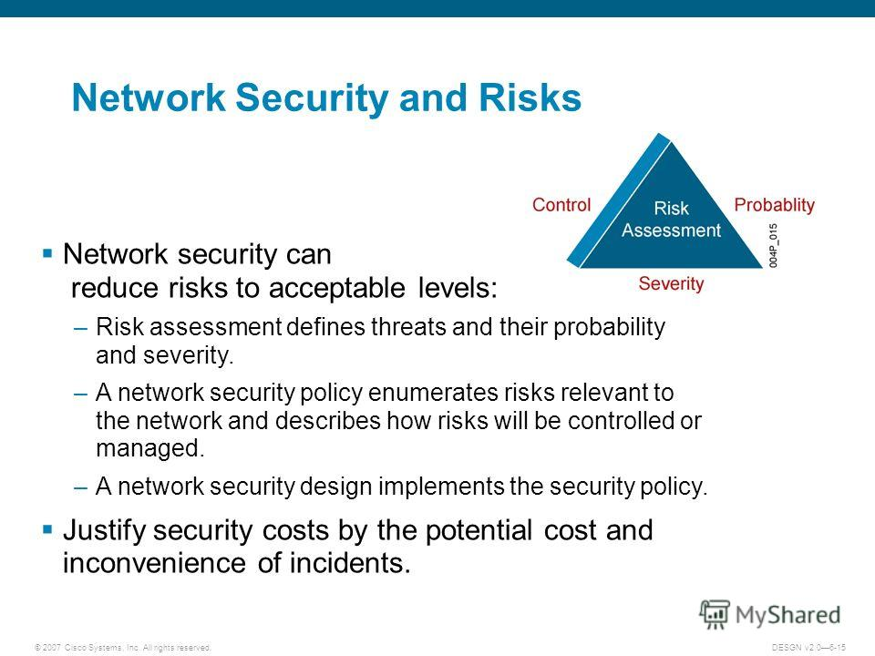 © 2007 Cisco Systems, Inc. All rights reserved.DESGN v2.06-15 Network Security and Risks Network security can reduce risks to acceptable levels: –Risk assessment defines threats and their probability and severity. –A network security policy enumerate