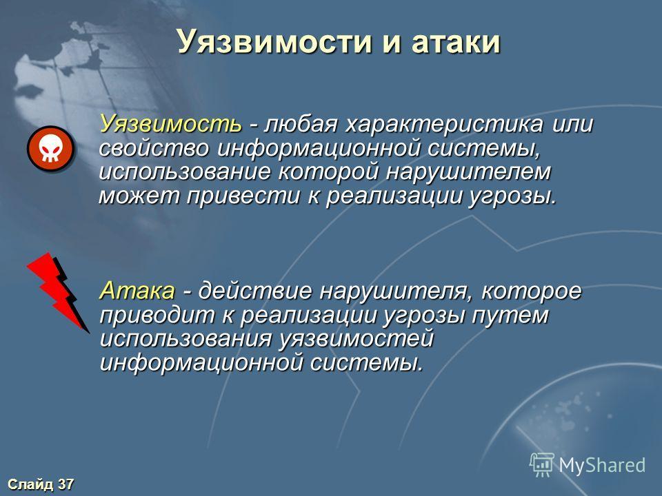 Слайд 37 Уязвимости и атаки Атака - действие нарушителя, которое приводит к реализации угрозы путем использования уязвимостей информационной системы. Уязвимость - любая характеристика или свойство информационной системы, использование которой нарушит