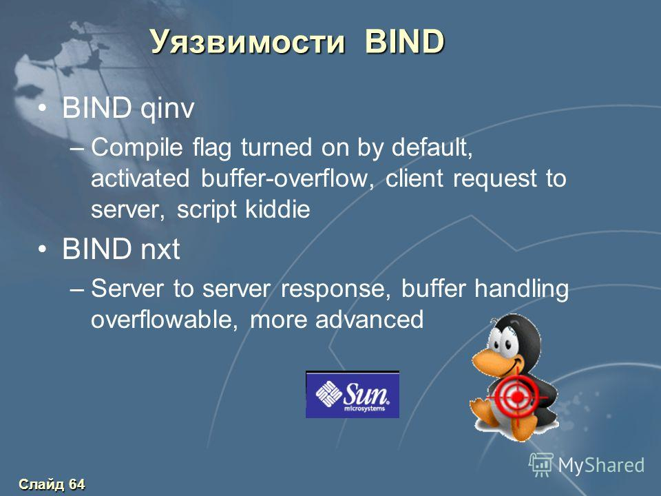 Слайд 64 Уязвимости BIND BIND qinv –Compile flag turned on by default, activated buffer-overflow, client request to server, script kiddie BIND nxt –Server to server response, buffer handling overflowable, more advanced