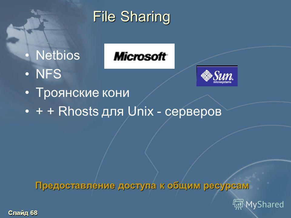 Слайд 68 File Sharing Netbios NFS Троянские кони + + Rhosts для Unix - серверов Предоставление доступа к общим ресурсам