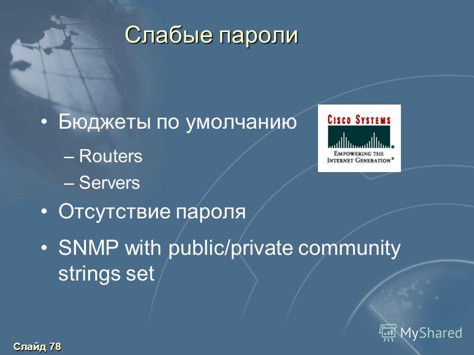 Слайд 78 Слабые пароли Бюджеты по умолчанию –Routers –Servers Отсутствие пароля SNMP with public/private community strings set