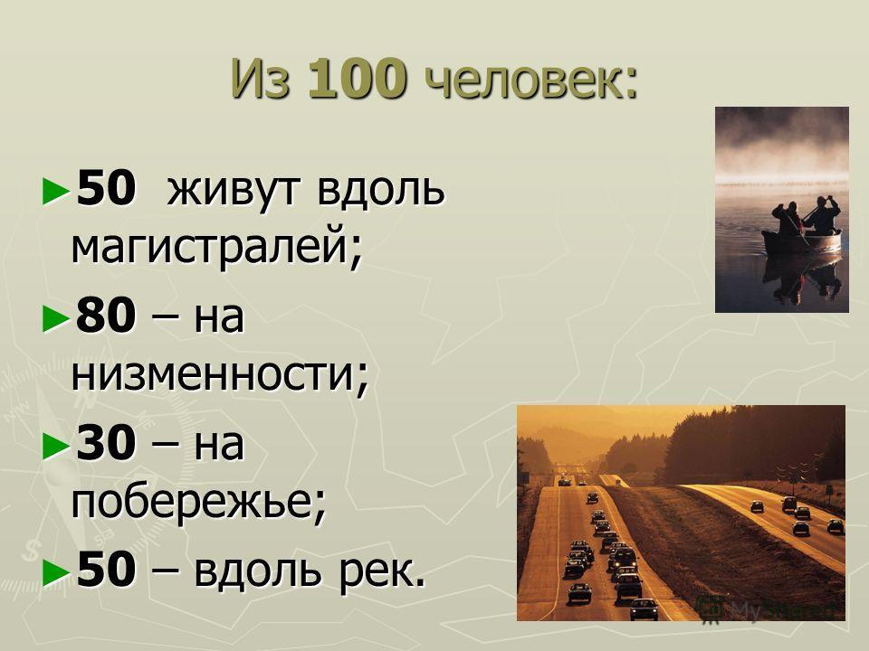 Из 100 человек: 50 живут вдоль магистралей; 50 живут вдоль магистралей; 80 – на низменности; 80 – на низменности; 30 – на побережье; 30 – на побережье; 50 – вдоль рек. 50 – вдоль рек.