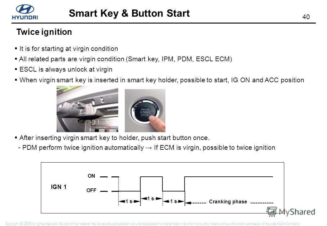 39 Smart Key & Button Start Copyright 2009 All rights reserved. No part of this material may be reproduced, stored in any retrieval system or transmitted in any form or by any means without the written permission of Hyundai Motor Company. Message for