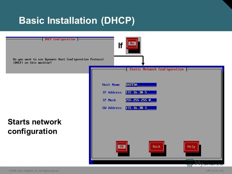 © 2006 Cisco Systems, Inc. All rights reserved. CIPT1 v5.01-22 Basic Installation (DHCP) Starts network configuration If