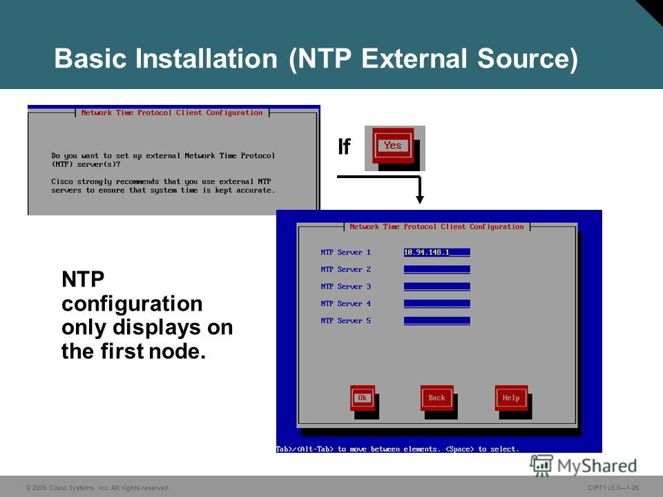 © 2006 Cisco Systems, Inc. All rights reserved. CIPT1 v5.01-26 Basic Installation (NTP External Source) If NTP configuration only displays on the first node.