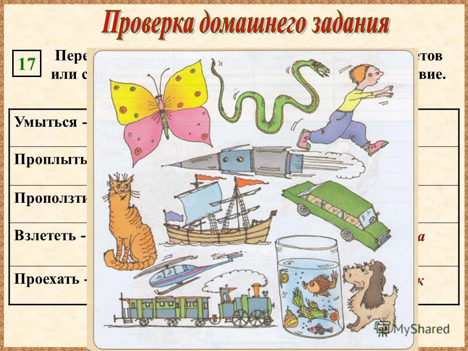 Умыться - Проплыть - Проползти - Взлететь - Проехать - кошка, человек корабль, человек, утка, рыба, собака змея, человек, ящерица самолет, бабочка, ракета, семечко одуванчика автомобиль, велосипед, поезд, телега, лыжник Перечисли в каждой строке назв