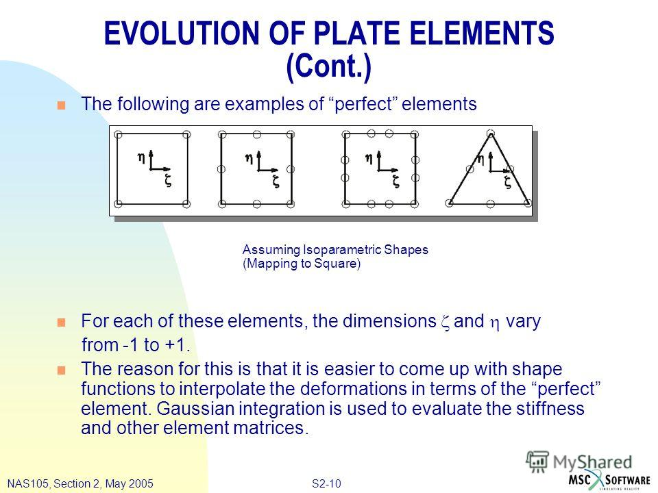 S2-10NAS105, Section 2, May 2005 EVOLUTION OF PLATE ELEMENTS (Cont.) n The following are examples of perfect elements n For each of these elements, the dimensions and vary from -1 to +1. n The reason for this is that it is easier to come up with shap