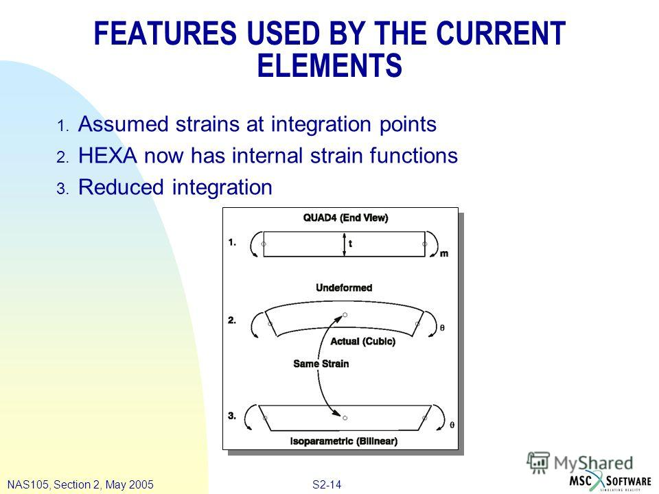 S2-14NAS105, Section 2, May 2005 FEATURES USED BY THE CURRENT ELEMENTS 1. Assumed strains at integration points 2. HEXA now has internal strain functions 3. Reduced integration